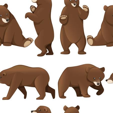 Ilustración de Seamless pattern of grizzly bears. North America animal, brown bear. - Imagen libre de derechos