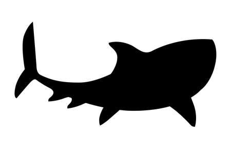 Illustration pour Black silhouette shark giant apex predator cartoon animal design flat vector illustration isolated on white background. - image libre de droit