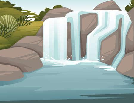 Illustration pour Landscape of countryside waterfall on rocks cartoon design flat vector illustration. - image libre de droit