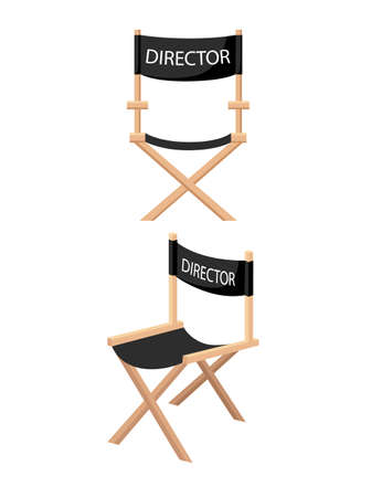 Illustration for Wooden folding chair with DIRECTOR label for cinema or theater usage vector illustration on white background. - Royalty Free Image