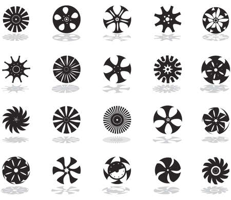 A set of black silhouettes of icons in the form of discs