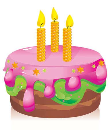 Vektor für colorful birthday cake with candles - Lizenzfreies Bild