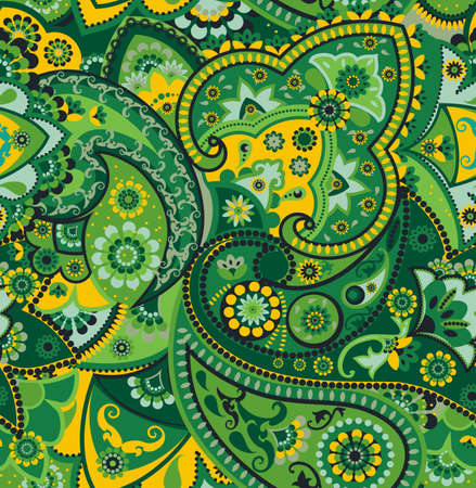 Yellow And Green Paisley