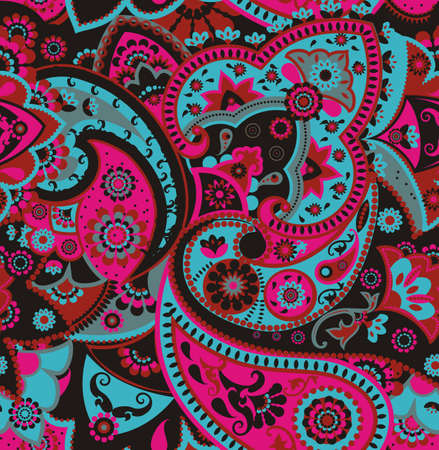 Pink, Blue And Black Paisley