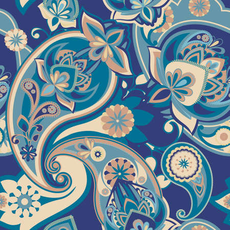 Henna Paisley - Blue Wallpaper