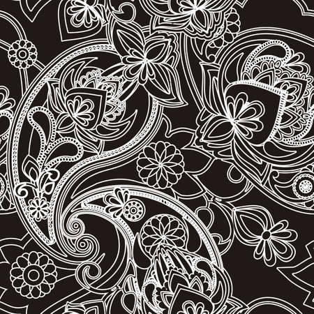 Henna Paisley - Black And White
