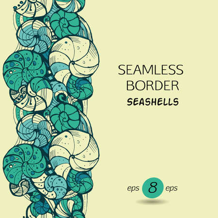Template for greeting cards, invitations, posters, brochures or banners. Hand-drawing Seamless pattern of seashells.
