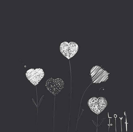 Heart-flowers on stalks. The dashed hand-drawing. Dark background.