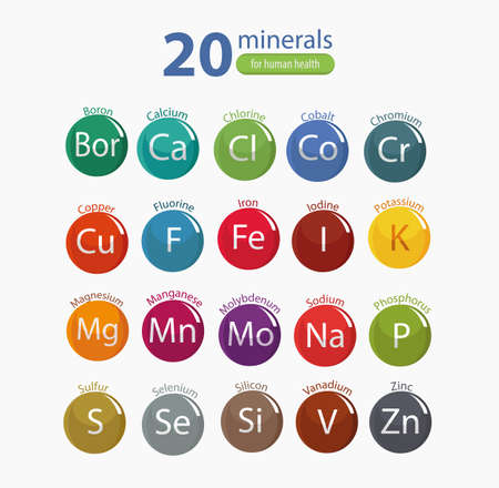 20 minerals: microelements and macro elements, useful for human health. Fundamentals of healthy eating and healthy lifestyles.