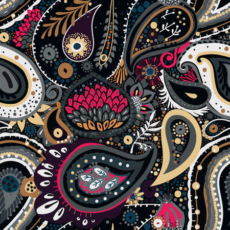 Illustration pour Traditional Asian Paisley pattern in modern design. Seamless pattern. Hand drawing - intentional slight negligence - image libre de droit
