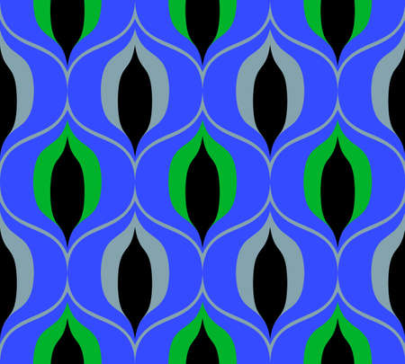 Illustration pour Seamless retro pattern in the style of the sixties. Art deco vintage wallpaper or fabric. - image libre de droit