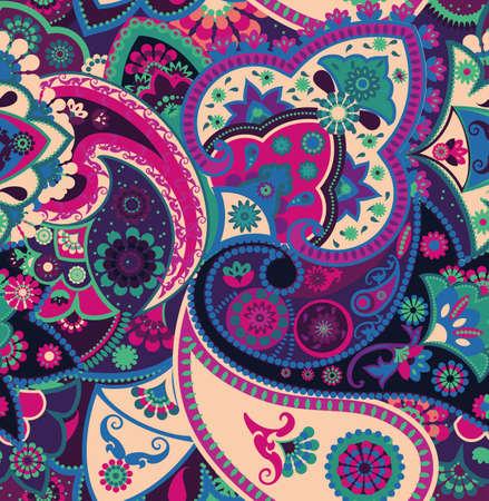 Illustration pour Seamless geometric pattern in oriental style. Traditional paisley motifs. Textiles and wallpaper. - image libre de droit