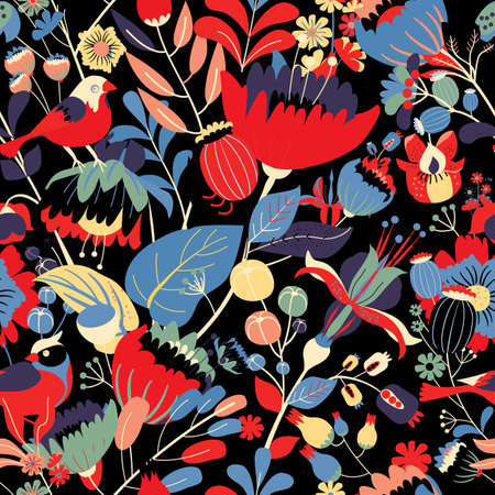 Illustration pour Seamless floral textile pattern. Floral fantasy for fabric with flowers, leaves, plants, buds and birds. - image libre de droit