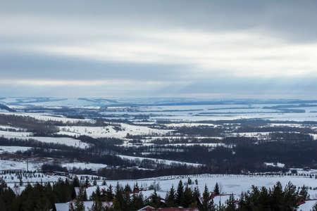 panoramic view of the alpine hut in the ski resort