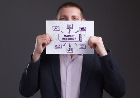 The concept of business, technology, the Internet and the network. Young businessman showing inscription: Market research
