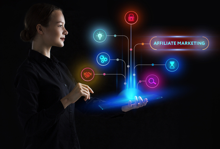 Photo pour The concept of business, technology, the Internet and the network. A young entrepreneur working on a virtual screen of the future and sees the inscription: Affiliate marketing - image libre de droit