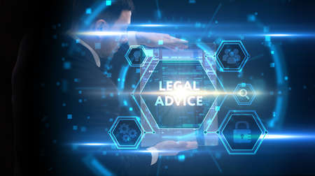 Photo pour Business, Technology, Internet and network concept. Young businessman working on a virtual screen of the future and sees the inscription: Legal advice - image libre de droit