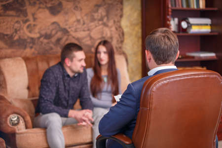 Photo for Couple at the reception of a psychologist - Royalty Free Image