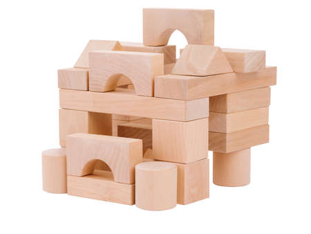 A small house, lined up for a child from geometric wooden figures, the development of hand motility, and a child, isolated on a white background.