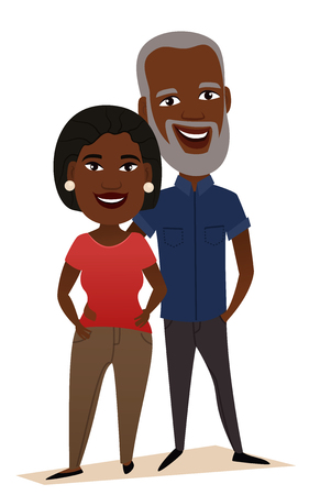 Illustration pour Happy black middle aged couple isolated vector illustration. Smiling grandfather and grandmother cartoon characters. Happy old people portrait, cheerful elderly family standing together, senior couple - image libre de droit