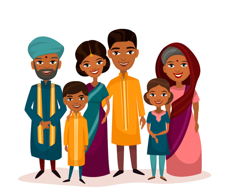 Vektor für Big happy indian family in national dress isolated vector illustration. Parents, grandparents and children cartoon characters. Family generations standing together, senior couple with grandchildren - Lizenzfreies Bild