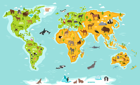 Illustration pour World map with wildlife animals vector illustration. Animals planet concept, world continents with flora and fauna. Giraffe, elephant, monkey, zebra, bear, turtle, whale, walrus, penguin, lynx, panda - image libre de droit