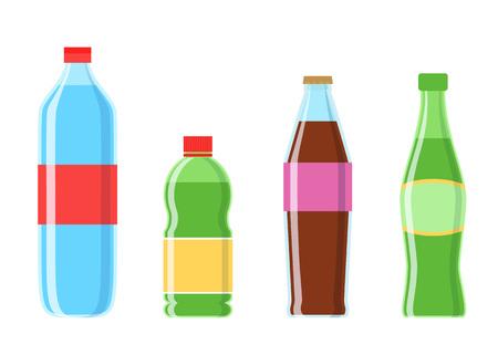 Cola plastic bottle set vector icon