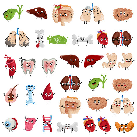 Illustration pour Happy and sad organs cartoon characters. Bone, lungs, eye, tongue, oesophagus, hair follicle, tooth, gallbladder, stomach, liver, thyroid, heart, kidneys, brain, intestine isolated vector illustration - image libre de droit