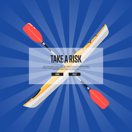 Take a risk sport banner with kayak and paddle on striped background. Rafting, kayaking, paddling and canoeing activity. Extreme water sport, relaxation on river, adventure by boat vector illustration