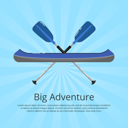 Big adventure banner with kayak and paddles on striped background. Extreme water sport, relaxation on river, recreation by boat vector illustration. Rafting, kayaking, paddling and canoeing activity.