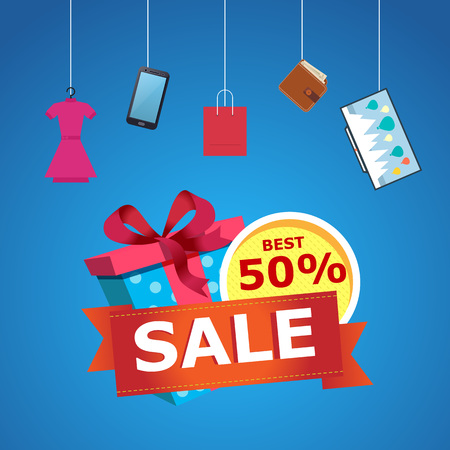 Discount gift sales banner with gift box and various goods on blue background.