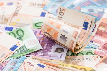 Photo pour Many different euro banknote as background. - image libre de droit