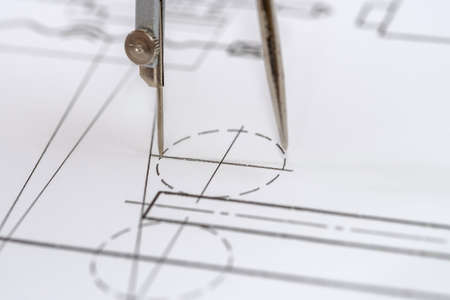 Photo pour Engineer's drawing on white paper as background close up - image libre de droit