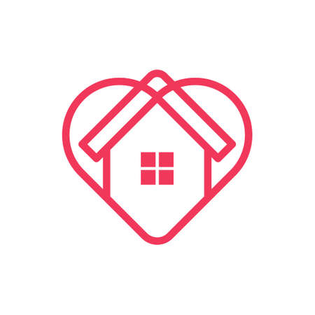 Illustration for Stay at Home Logo Icon Vector design illustration. Home with Love icon design concept. - Royalty Free Image