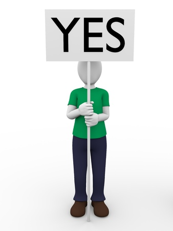 Photo pour A man holding a sign with the word yes. Positivism. - image libre de droit