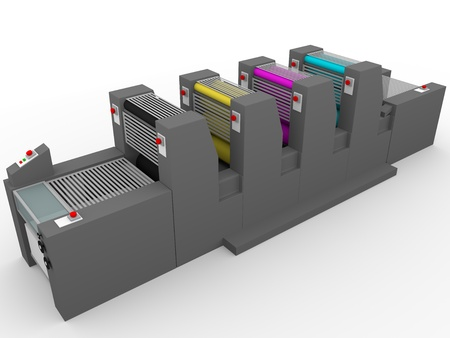 A commercial printing press with four modules, one for each color: Magenta, cyan, yellow and black.