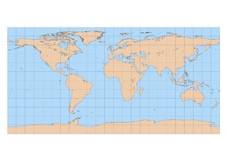 Very High Detailed Map Of The World In Equirectangular Projection