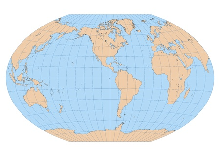 Very high detailed map of the world in Winkel Tripel projection with ...