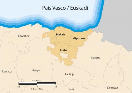 map of the autonomous community of Basque Country  Pa&Atilde,&shy,s Vasco  Spain