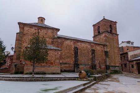 Stone church in Palmaces de Jadraque, Guadalajara, Castile la Mancha, Spain