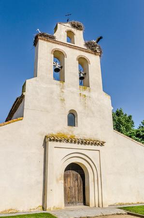 Spanish church in Avila with some nests of storks. Santa Maria de la Cabeza hermitage