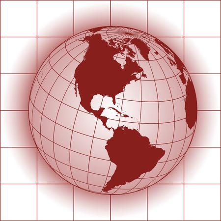 North America map. Europe, Greenland, North Pole, South America. Earth globe.