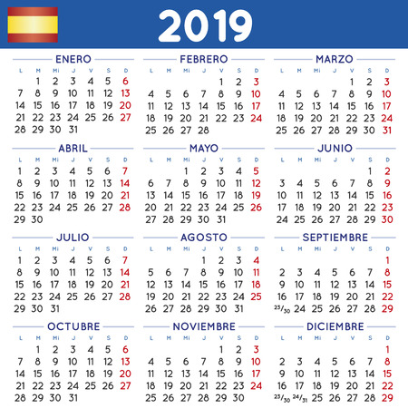 Calendario Julio 2019 Vector.2019 Elegant Squared Calendar In Spanish Year 2019 Calendar