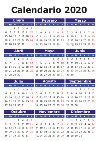 Calendario 2020 Vector Gratis.2020 Vector Calendar In Spanish Easy For Edit And Apply