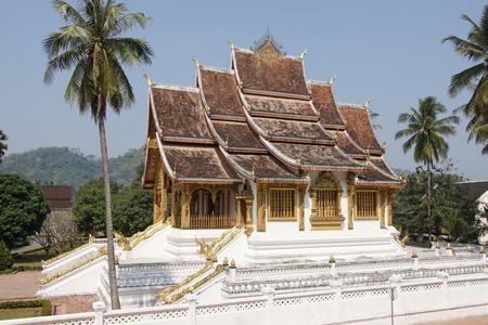 LUANG PRABANG, LAOS - FEBRUARY 10, 2016: Wat Ho Pha Bang temple close to the National Museum on February 10, 2016 in Luang Prabang, Laos, Asia