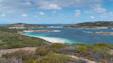 Panoramic view over the Little Wharton Beach on a summer day, one of the most beautiful places in the Cape Le Grand National Park, Western Australia