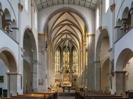 GERMANY, COLOGNE - AUGUST 10, 2018: View throught the main aisle of the basilica Saint Ursula on August 10, 2018 in Cologne, Germany