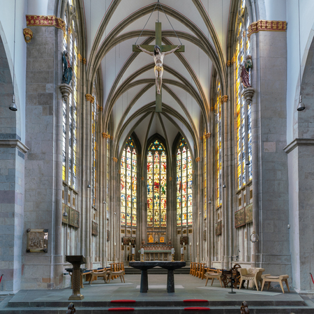 GERMANY, COLOGNE - AUGUST 10, 2018: View to the altar of the basilica Saint Ursula on August 10, 2018 in Cologne, Germany