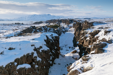 Panoramic image of the beautiful landscape of the Thingvellir National Park during winter, Iceland, Europe