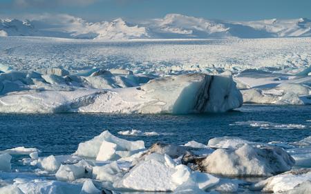 Icebergs in the glacier lagoon of Joekulsarlon, winter in Iceland, Europe